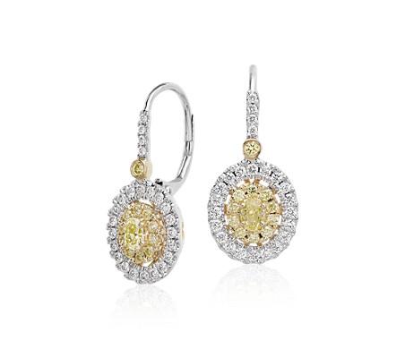 Aretes colgantes con doble halo de diamantes blancos y amarillos en oro blanco y amarillo de 18k (1 qt. total)