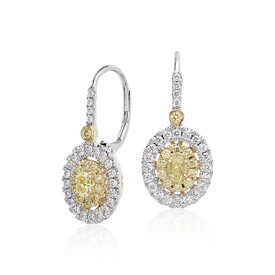 Double Halo Yellow  and White Diamond Drop Earrings in 18k White and Yellow Gold
