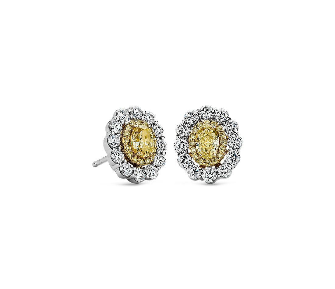 Double Halo Yellow And White Diamond Stud Earrings In 18k Gold 1 2 Ct Tw