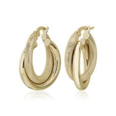 NEW Double Hoop Earrings in 14k Italian Yellow Gold