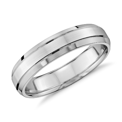 Double Inlay Comfort Fit Wedding Ring in 14k White Gold 5mm