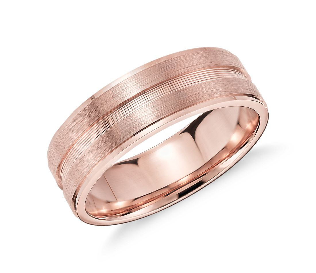 Double Inlay Wedding Ring in 14k Rose Gold (7mm) | Blue Nile