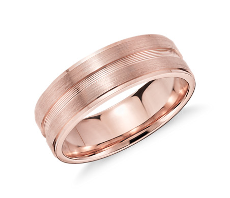 Double Inlay Wedding Ring in 14k Rose Gold (7mm)