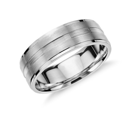 Double Inlay Wedding Ring in 14k White Gold (7mm)
