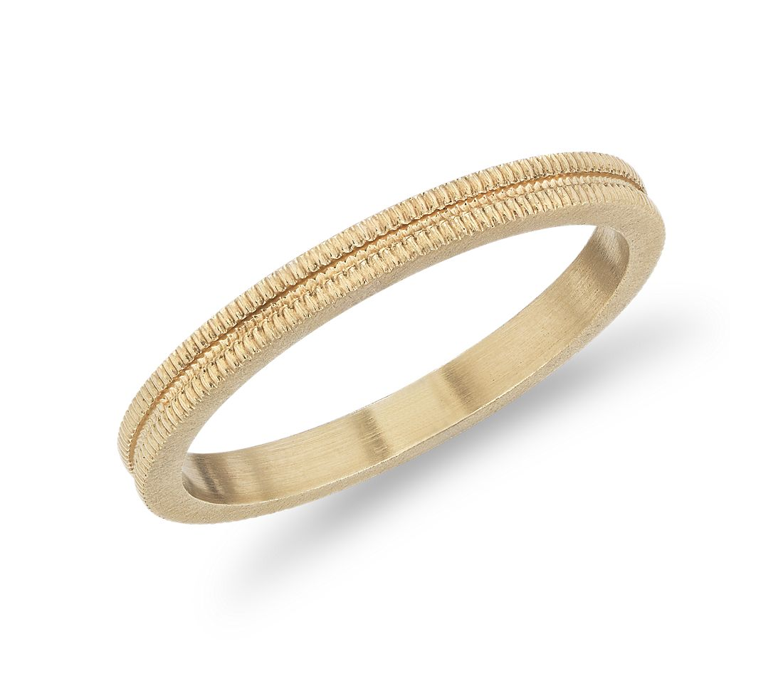 Double Knurl Fashion Ring in 14k Yellow Gold