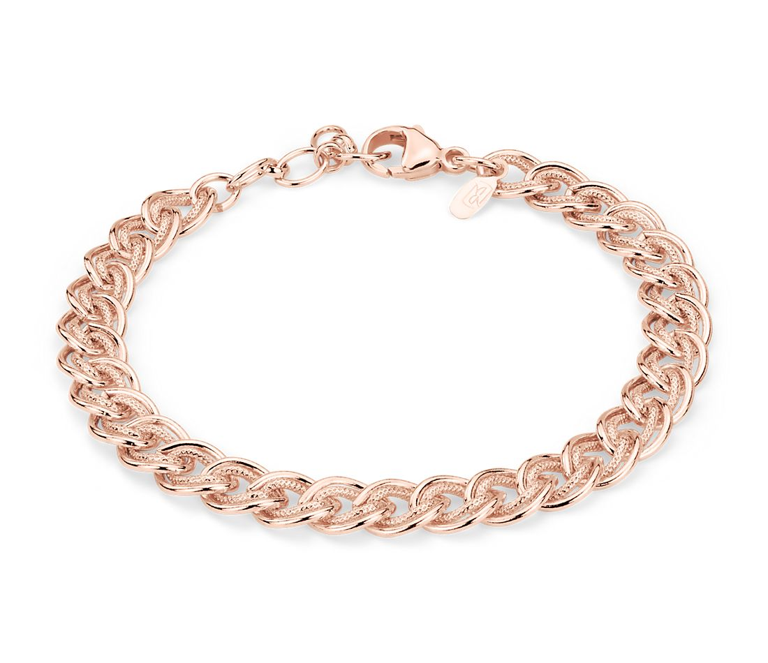 Double Link Bracelet in Sterling Silver and Rose Gold Vermeil