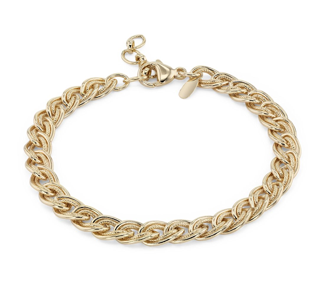 Adjule Double Link Bracelet In Sterling Silver With Yellow Gold Vermeil
