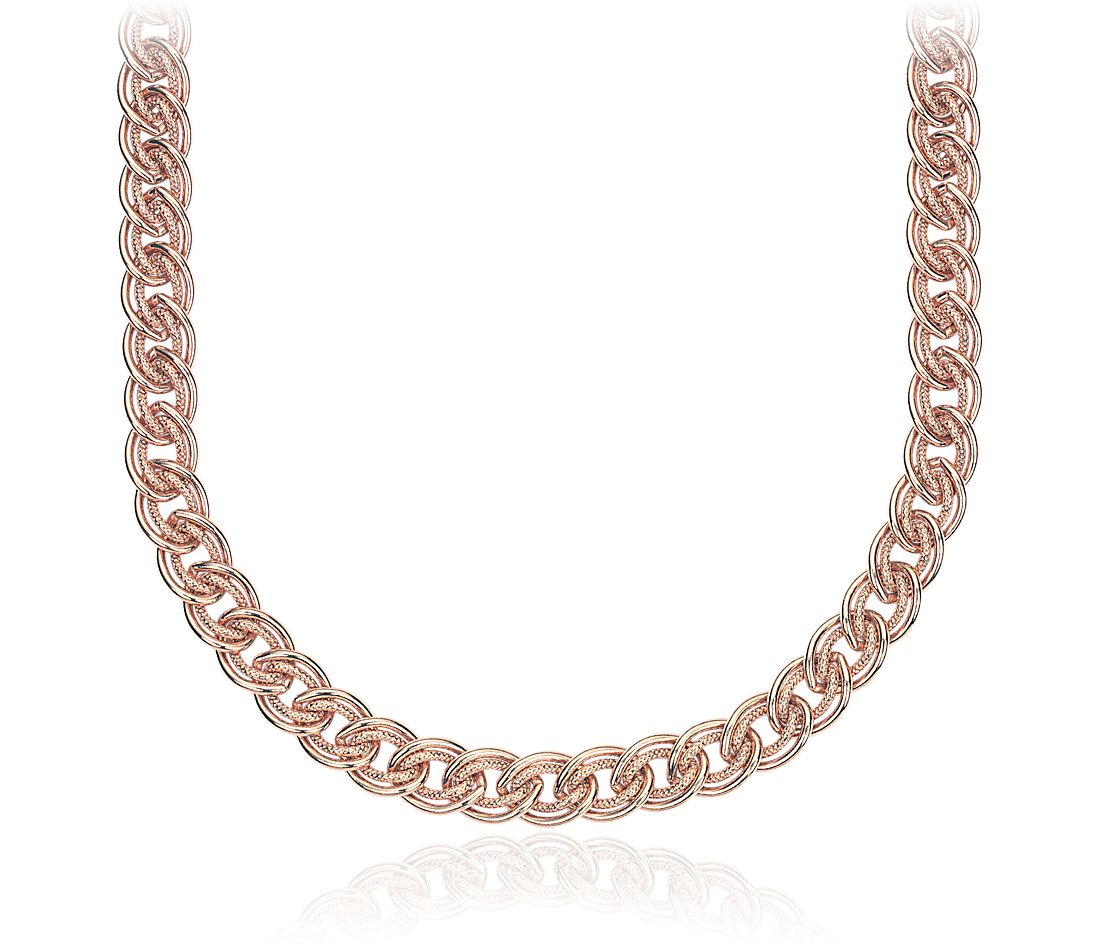 Double Link Choker Necklace in Sterling Silver with Rose Gold Vermeil