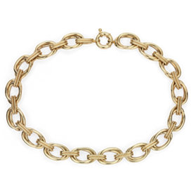 NEW Double Link Statement Necklace with Rope Detail in 14k Yellow Gold