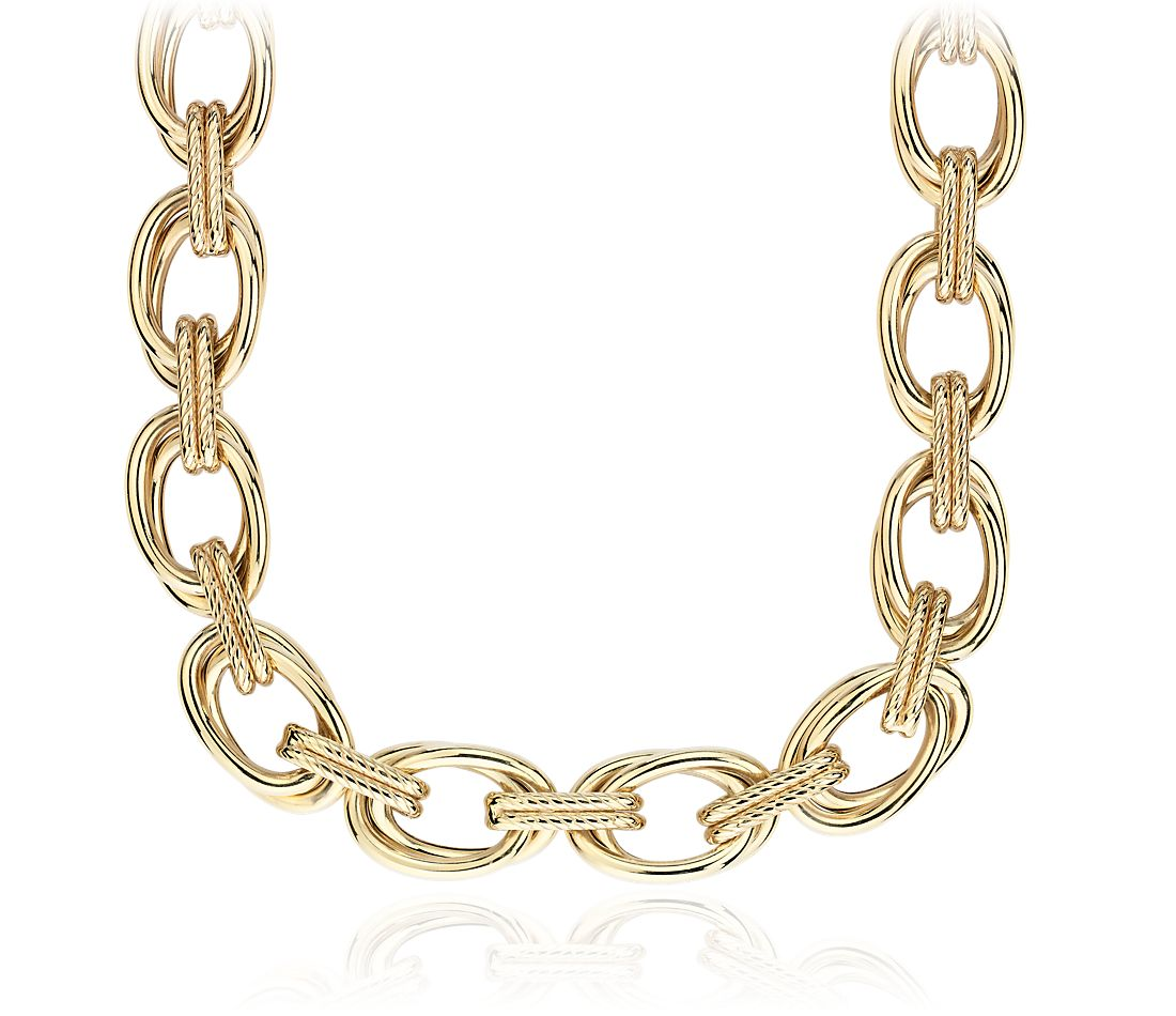 Double Link Statement Necklace with Rope Detail in 14k Italian Yellow Gold