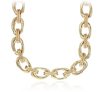 14k 義大利黃金 雙連環繩狀細節特色項鍊