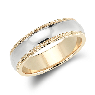 Double Milgrain Comfort Fit Wedding Ring in 14k White and Yellow