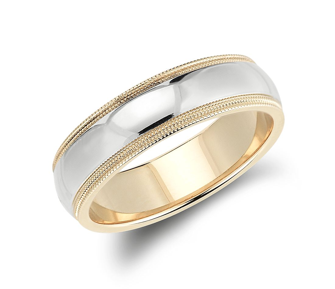 double milgrain comfort fit wedding ring in 14k white and yellow gold 6mm - White Gold Wedding Ring