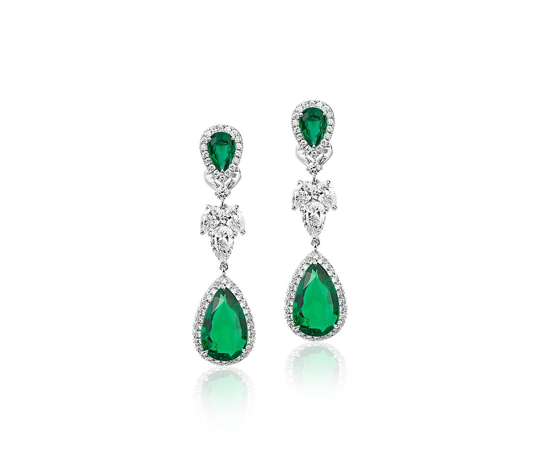Double Pear-Shaped Emerald Drop Earrings with Diamond Halo in 18k White Gold (3.45 cts)