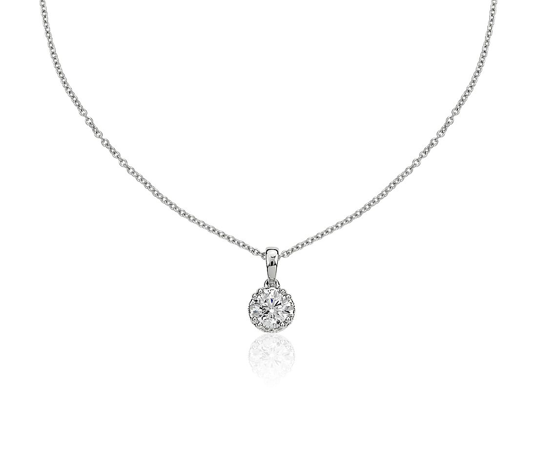 Double Prong Diamond Pendant with Diamond Crown Basket in 14k White Gold (7/8 ct. tw.)