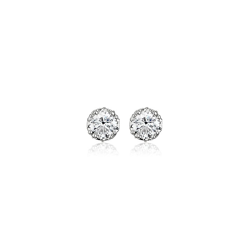 Double Prong Diamond Stud Earrings with Diamond Crown Baskets in