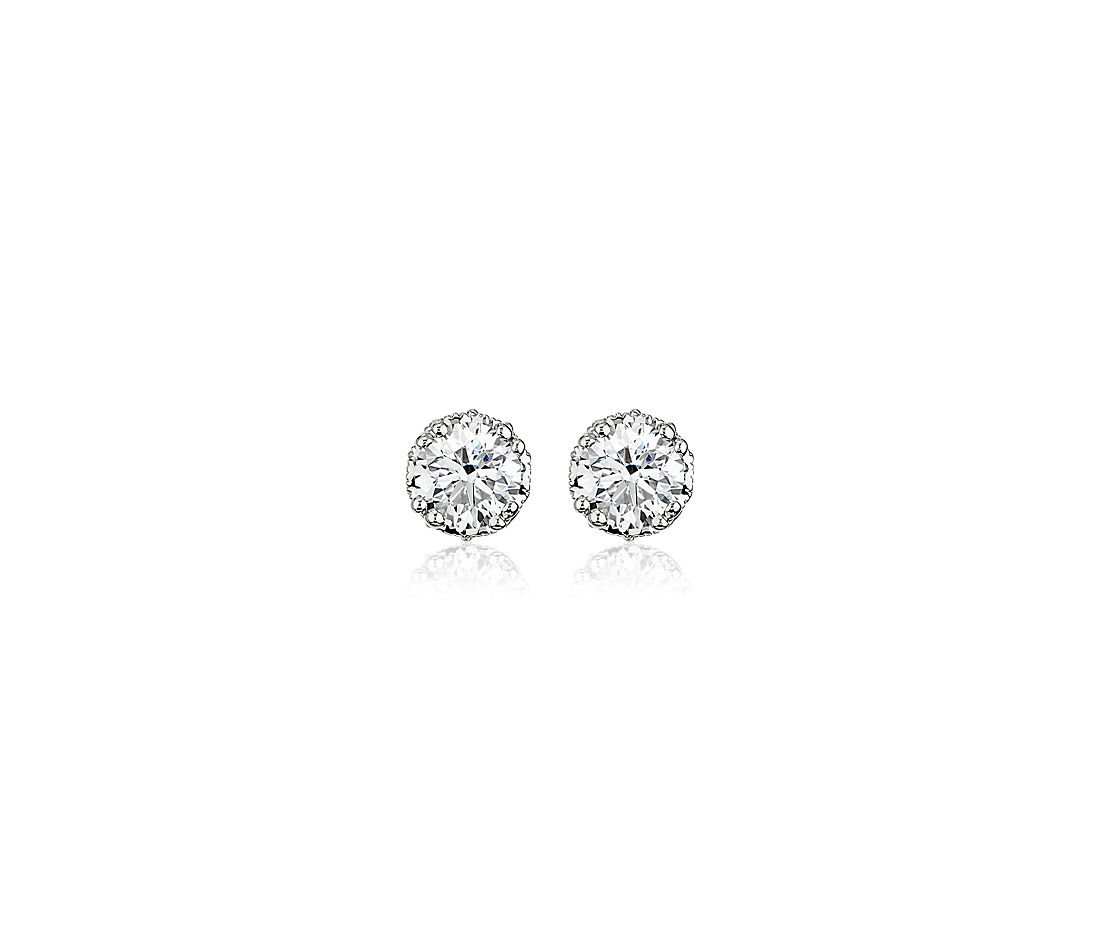 Double Prong Diamond Stud Earrings with Diamond Crown Baskets in 14k White Gold (1 1/8 ct. tw.)