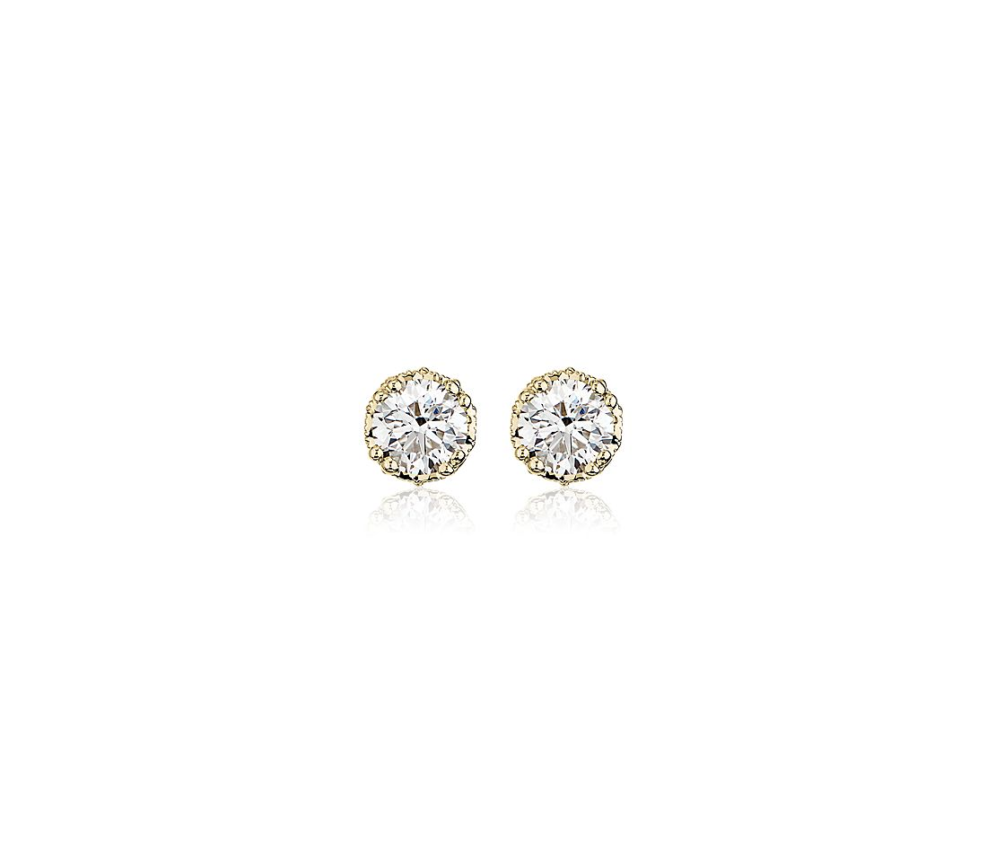 Double Prong Diamond Stud Earrings with Diamond Crown Baskets in 14k Yellow Gold (1 1/8 ct. tw.)