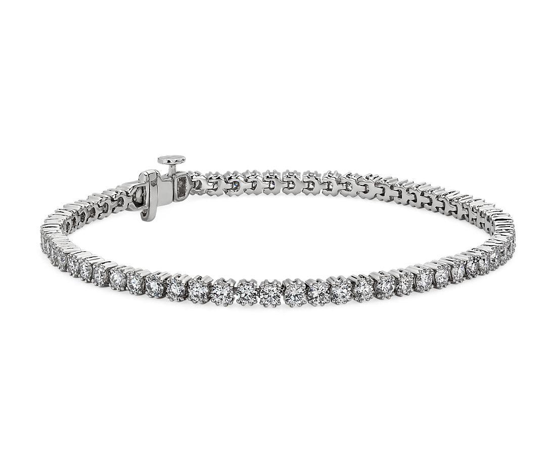 18k 白金新艺术派钻石网球手链 - F/SI2 (4 克拉总重量)