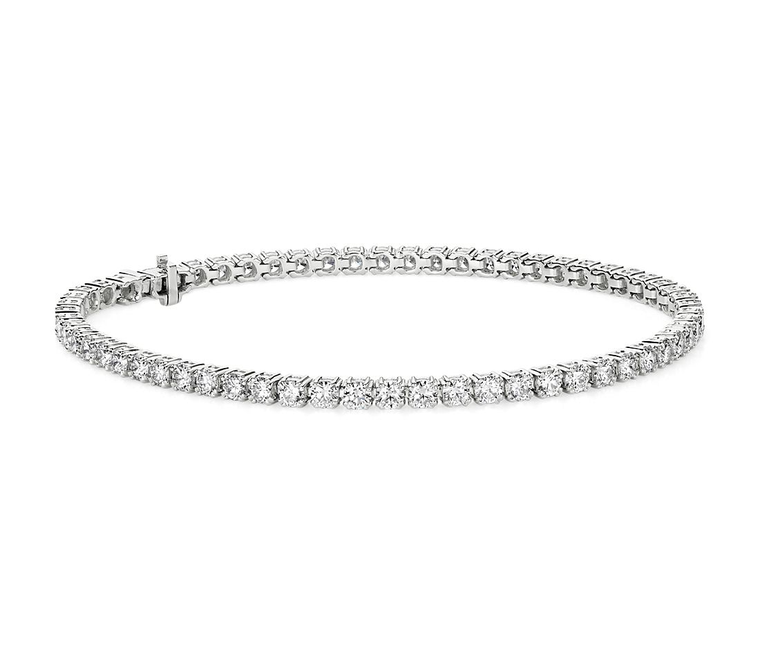 Nouveau bracelet tennis diamants en or blanc 18 carats (5,00 carat, poids total)