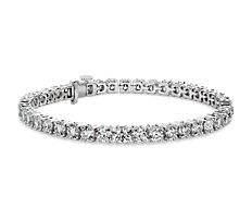 NEW Double Claw Diamond Tennis Bracelet in 18k White Gold (10.13 ct. tw.)