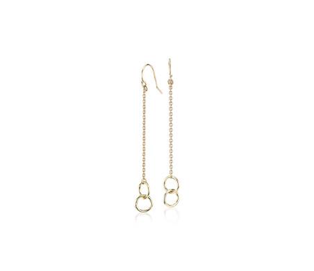 Pendants d'oreilles double anneau en or jaune 14carats