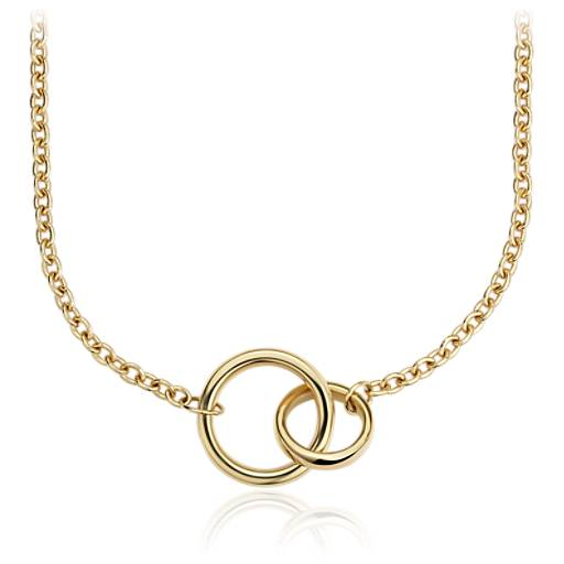 sale gold circles nail wholesale steel product ring circle necklace titanium double hot small two rings with pendant big connect j and