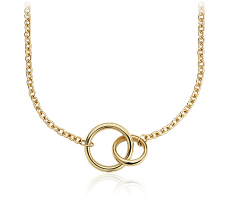 Forever Together Double Ring Necklace in 14k Italian Yellow Gold