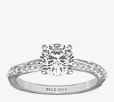 Double Row Rollover Twist Diamond Engagement Ring