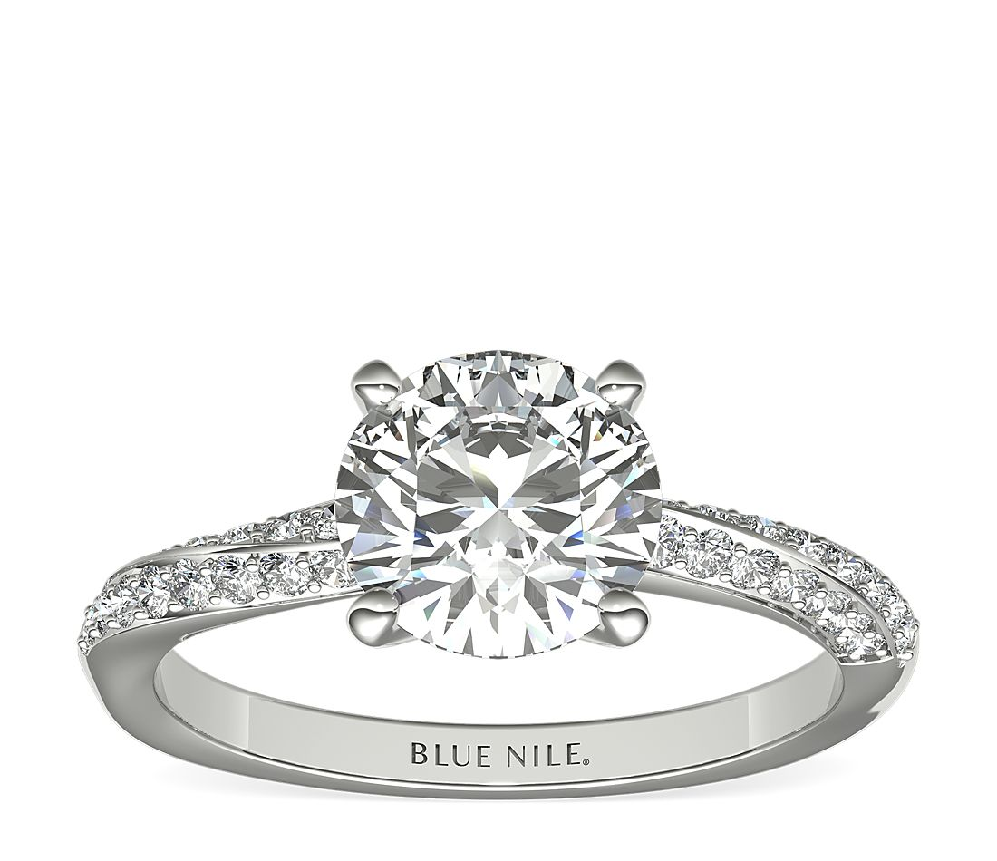 1.5ct.RD in Double Row Rollover Twist Diamond Engagement Ring 14KWG