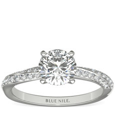 Double Row Rollover Twist Diamond Engagement Ring in 14k White Gold (1/4 ct. tw.)