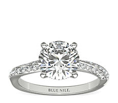 Double Row Rollover Twist Diamond Engagement Ring in 14k White Gold