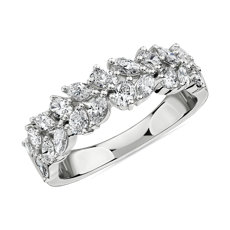 NEW Double Row Alternating Marquise Diamond Fashion Ring in 14k White Gold (1 ct. tw.)
