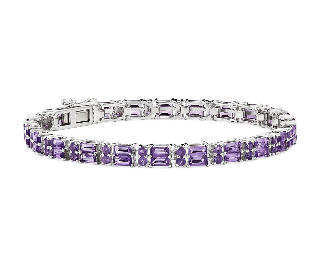 925 纯银双排长方形和圆形紫水晶手链