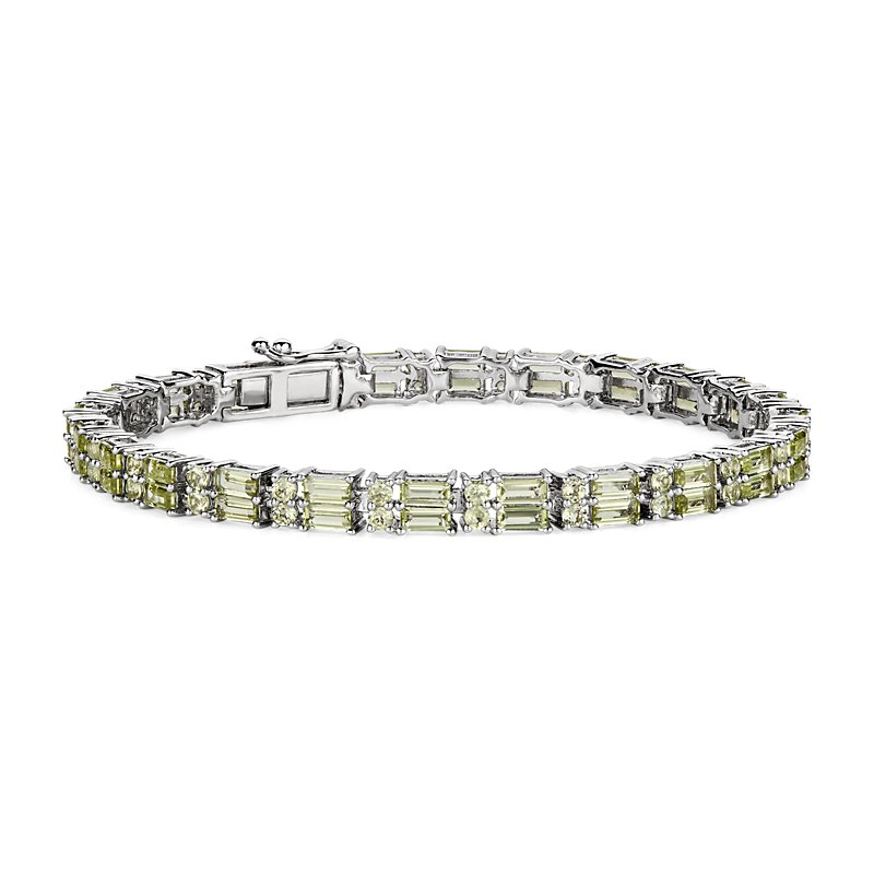 Double Row Baguette & Round Peridot Bracelet in Sterling Silver
