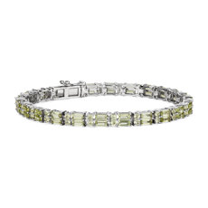 NEW Double Row Baguette & Round Peridot Bracelet in Sterling Silver