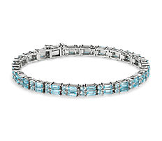 新款 925 純銀雙排長方形和圓形天藍色托帕石手鍊