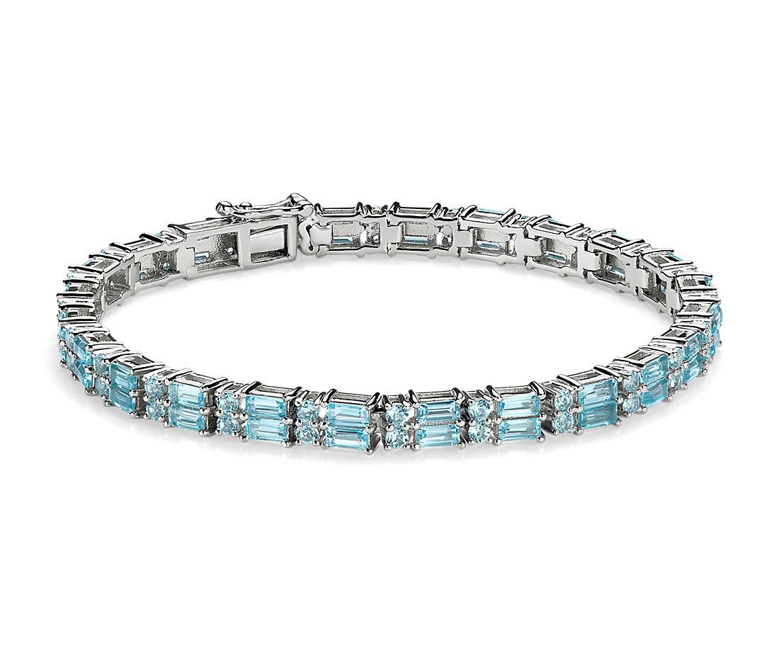 Double Row Baguette & Round Sky Blue Topaz Bracelet in Sterling Silver