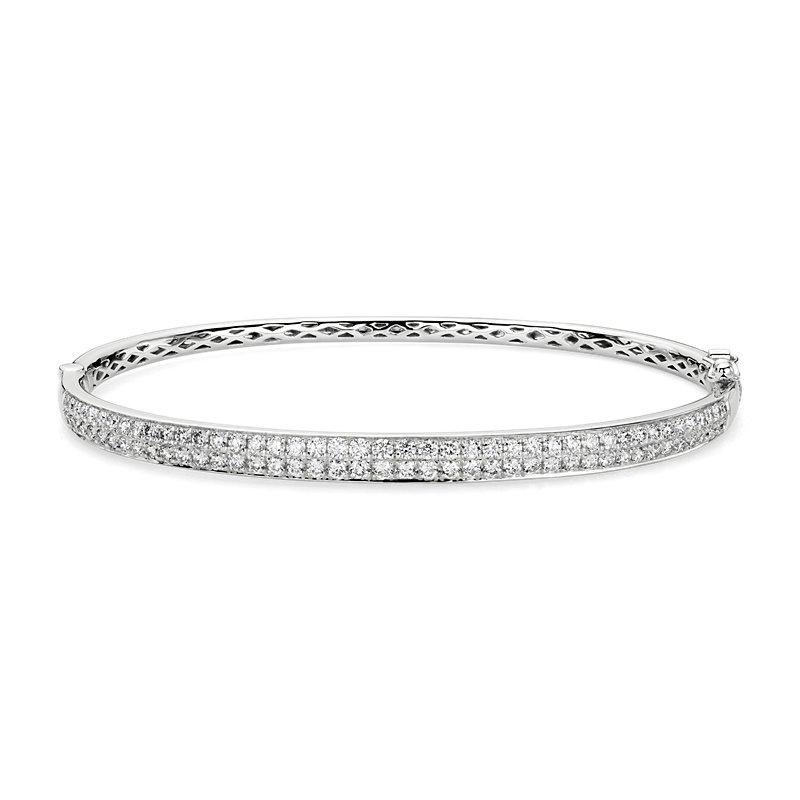 Double Row Diamond Pavé Bangle in 14k White Gold (1 1/2 ct