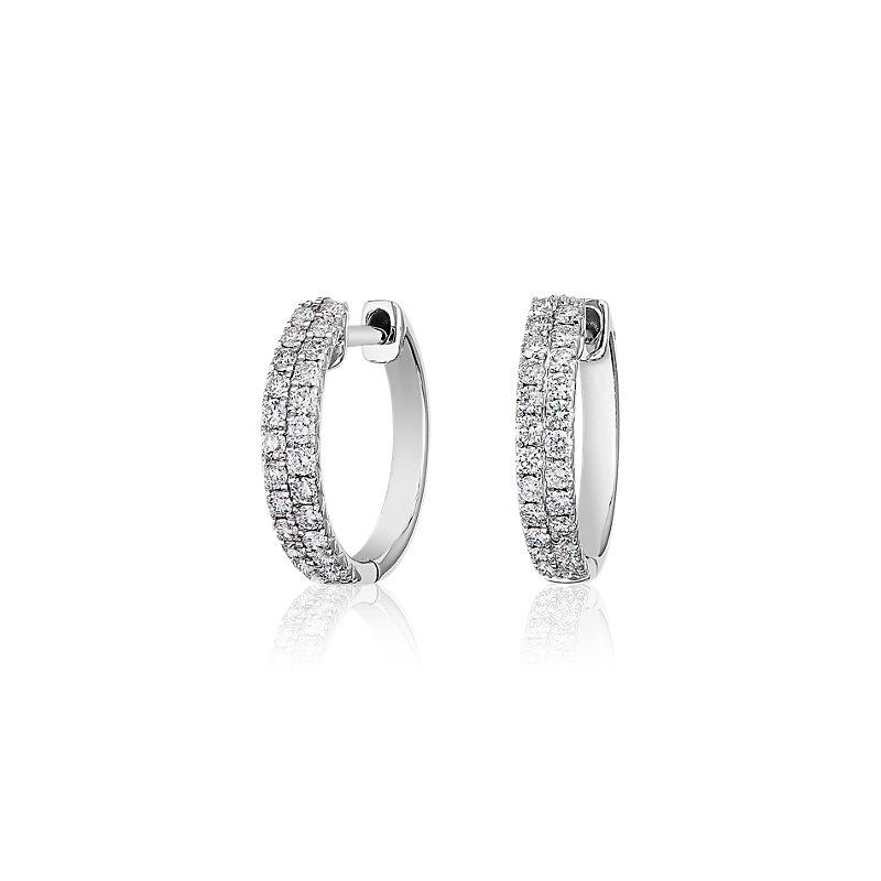 Double Row Diamond Petite Huggie Hoop Earrings in 14k White Gold (1/2 ct. tw.)