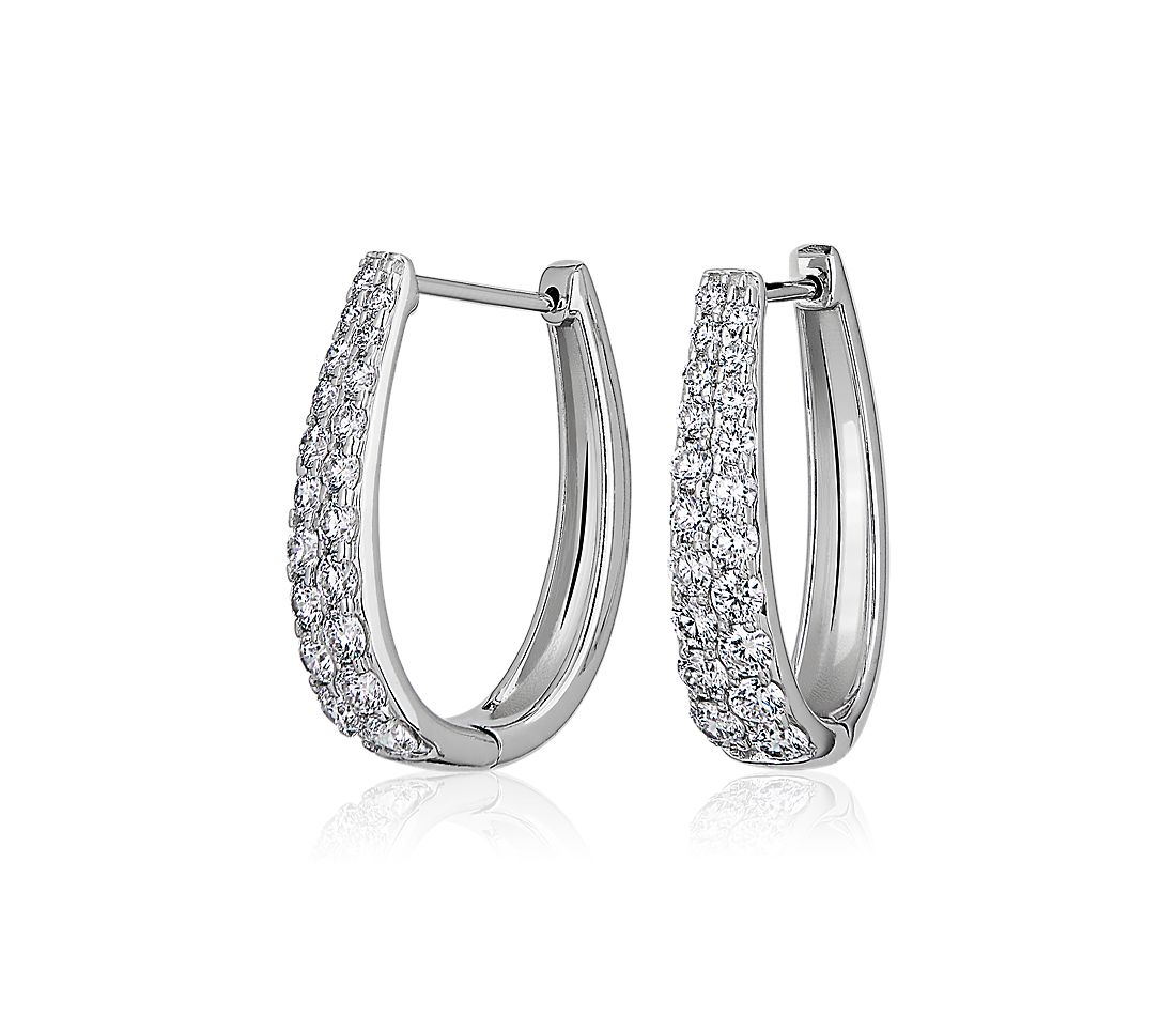 Double Row Graduated Oval Hoop Earrings in 14k White Gold (1 1/2 ct. tw.)