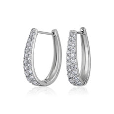 NEW Double Row Graduate Oval Hoop Earrings in 14k White Gold (1.45 ct. tw.)