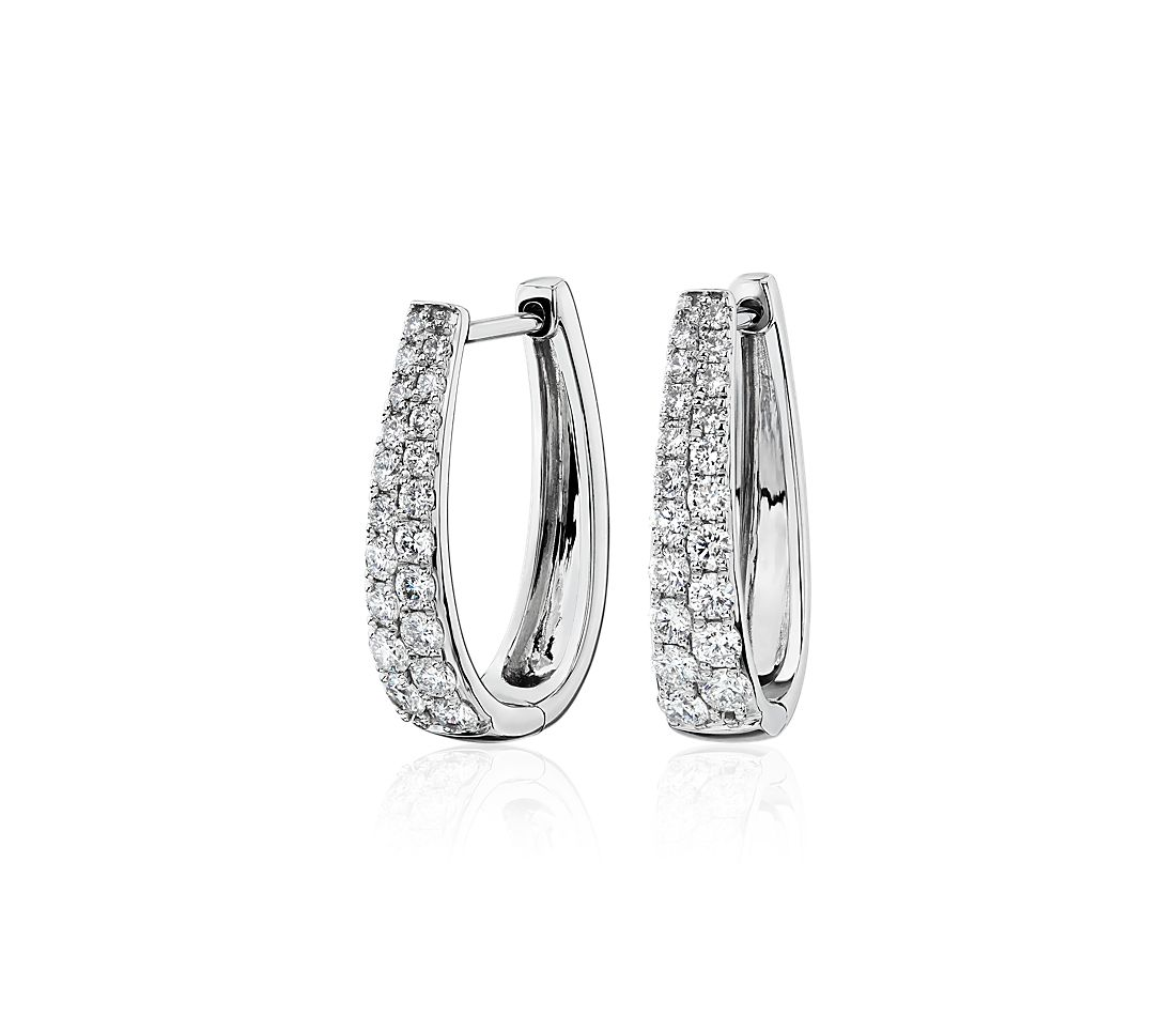 Double Row Graduated Oval Hoop Earrings in 14k White Gold (0.95 ct. tw.)