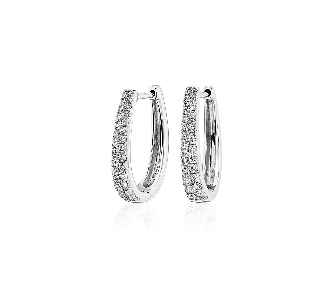 Double Row Graduated Oval Hoop Earrings in 14k White Gold (0.45 ct. tw.)