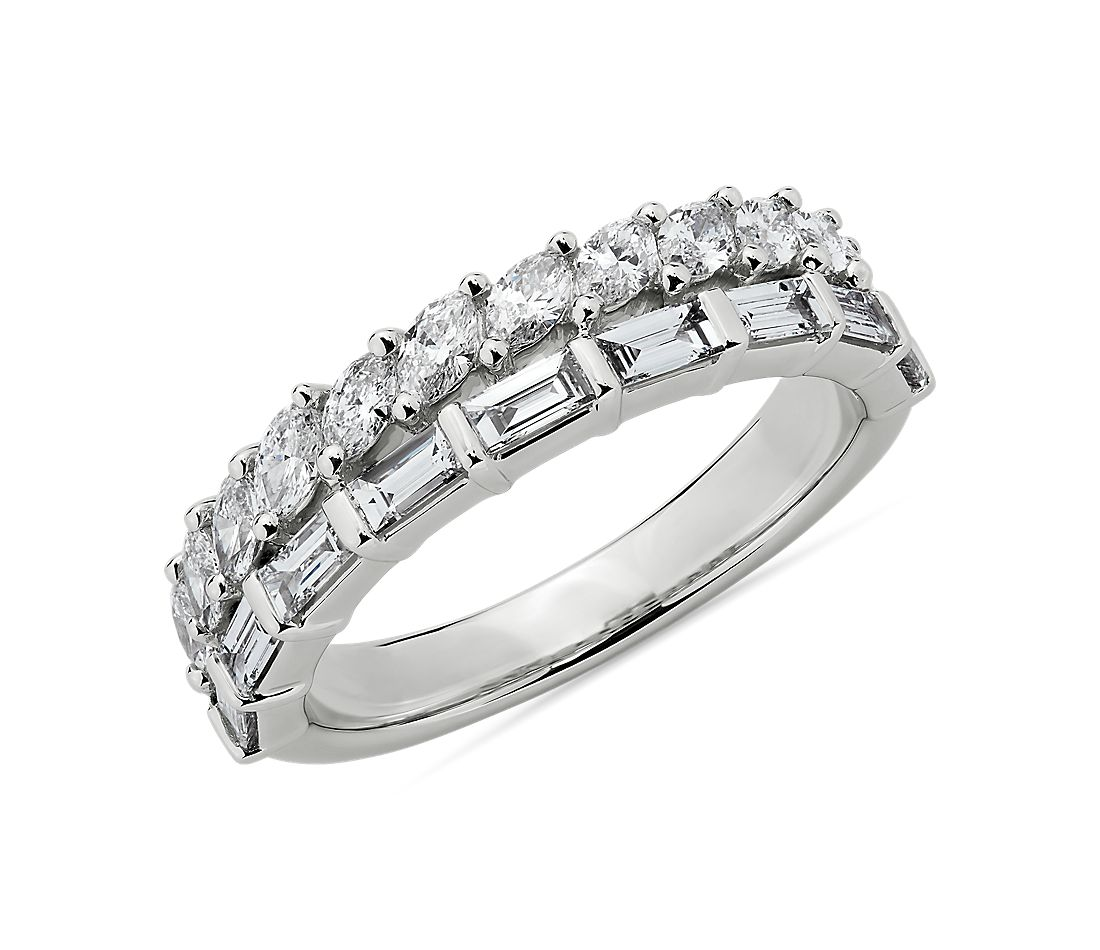 Double Row Marquise and Baguette Cut Diamond Fashion Ring in 14k White Gold (1 ct. tw.)
