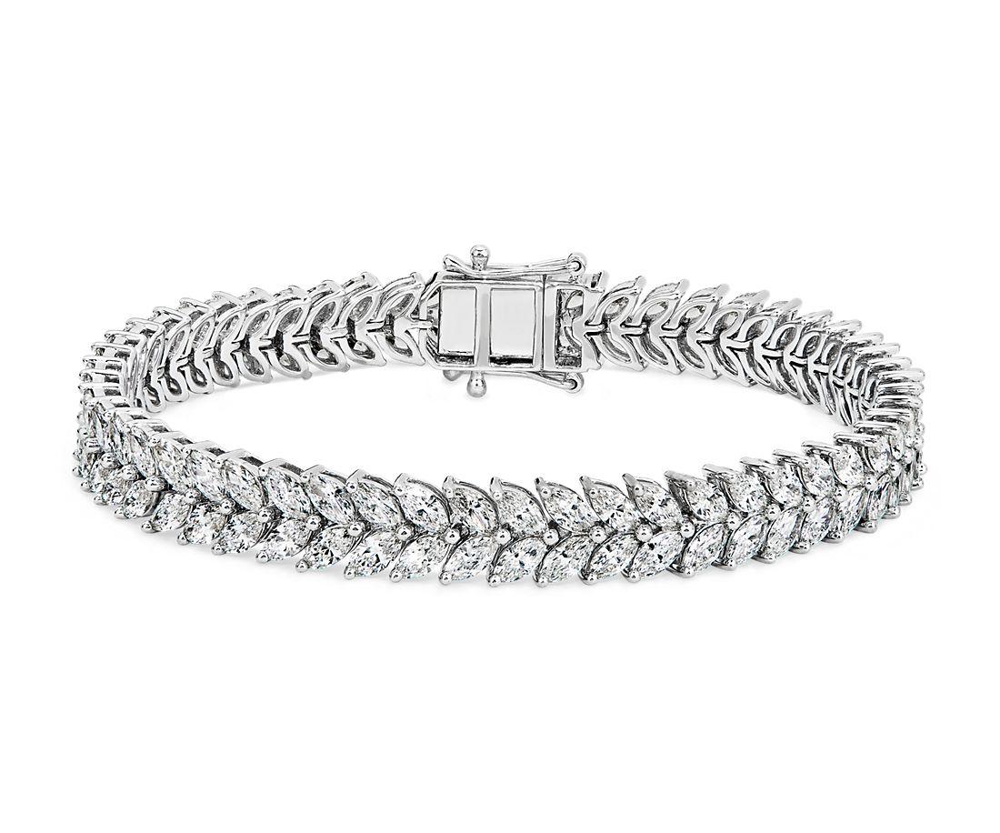 18k 白金双排马眼形钻石手链(9 1/2 克拉总重量)