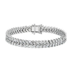 18k 白金雙排欖尖形鑽石手鍊(9 1/2 克拉總重量)