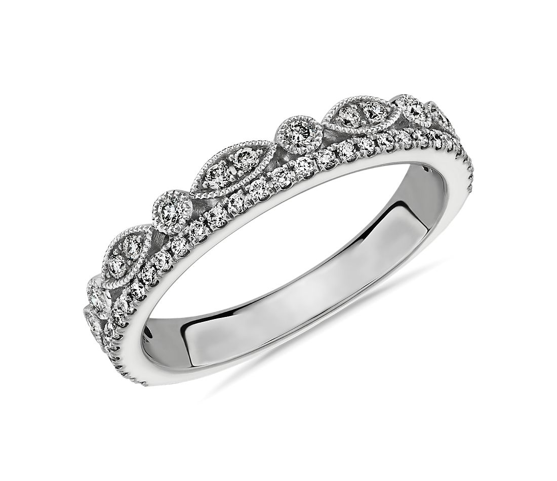 Double Row Milgrain Marquise and Pavé Diamond Wedding Ring in 14k White Gold - I/SI2 (0.3 ct. tw.)