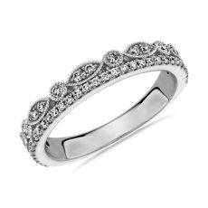 NUEVO Anillo de bodas de doble fila de diamantes en pavé y talla marquesa con detalle milgrain en oro blanco de 14 k - I/SI2 (0,3 qt. total)