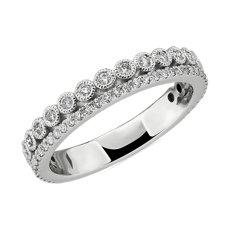 14k 白金双排式密钉和锯状滚边包边镶钻石结婚戒指(3/8 克拉总重量)